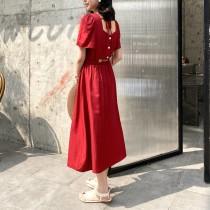 短袖方領中長款顯瘦簍空收腰A字連身洋裝
