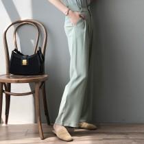 夏季高腰寬鬆垂感拖地長褲 M L
