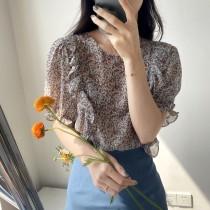 夏季法式浪漫蒜花圓領百搭襯衫 M L