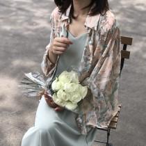 夏季薄款氣質印花雪紡襯衫  M L