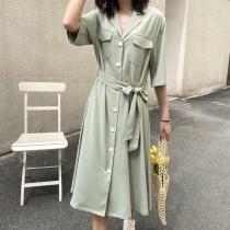夏季寬鬆襯衫型收腰輕熟風格洋裝 M L