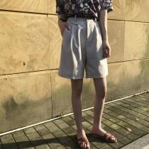 夏季西裝料短版闊腿短褲 高腰顯瘦休閒短褲  S M L
