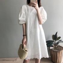 韓版泡泡秀連身蕾絲簍空顯瘦洋裝 M L