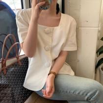 氣質小方領 棉麻短袖西裝襯衫