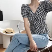 格子泡泡袖V領格紋法式襯衫 M L