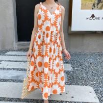 夏季新款度假風雛菊吊帶連身洋裝 M L
