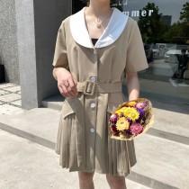 夏季西裝領雪紡短袖A字裙洋裝 M L