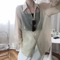 天絲夏季慵懶防曬襯衫外套 M L