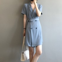 短袖連身裙 韓版西裝領收腰A字短洋裝M L