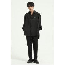 男裝 長袖免燙寬鬆貼布垂墜感襯衫  M-XL