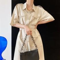 復古工裝夏季法式收腰棉麻連身洋裝 M L