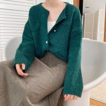 小香風珍珠扣開襟寬鬆毛衣外套