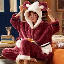 超可愛抱哥冬季法蘭絨居家睡衣套裝 M - XXL