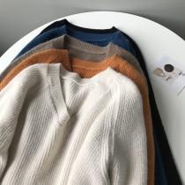 秋冬新款V領寬鬆套頭針織衫