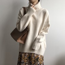 秋冬高領寬鬆版加厚針織毛衣