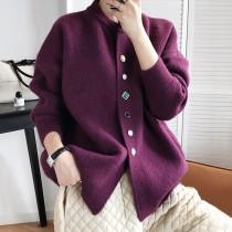 小香風寶石扣針織寬鬆單排釦毛外套