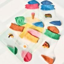 食物系列趣味透明襪  五件一組/不挑色  small ki