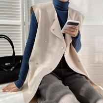 雙面仿羊絨秋冬新款無袖毛呢夾克背心  M L