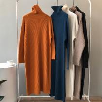秋冬新款寬鬆高領過膝套頭慵懶針織洋裝
