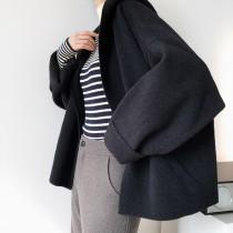慵懶毛衣針織開襟短版仿羊絨短大衣