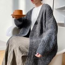 秋冬新款加厚過膝慵懶開衫針織外套