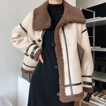 羊羔毛絨外套短版秋冬寬鬆加厚機車夾克 M-L