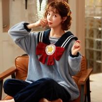 冬季水手服法蘭絨居家套裝睡衣 M - XXL