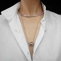 s925純銀 12mm 圓珠現代幾何風格項鍊