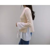 拼接假兩件式針織不規則設計感喇叭袖毛衣  small ki