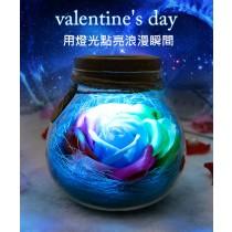 永生花精美玻璃裝置/浪漫調節燈光/情人節/玫瑰花/生日禮物/告白