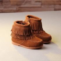 Small Kids 爆款秋冬新款童鞋歐美風童靴子真皮摩莎流蘇短靴   Small Ki