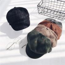 復古八角帽格紋報童帽  small ki