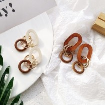 [現貨] 誇張鍊型木質耳針式耳環  small ki