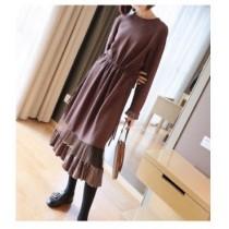 荷葉邊針織連身裙秋冬新款收腰百折氣質中長款針織洋裝  SMALL KI