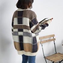 格紋針織中長版加厚復古感毛衣開襟外套   small ki