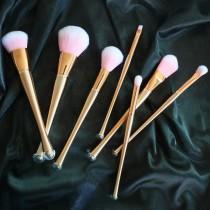 奢華金螺旋握把粉色纖維刷具7件組