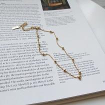 925純銀規則珠珠實自戀金色短練脖子鍊頸鍊