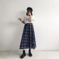 韓版復古大格子高腰中長款長裙 / 擺搭不膩的格子裙總是很派上用場
