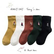 貓的背影日系可愛電繡襪子  五件一組不挑色  small ki