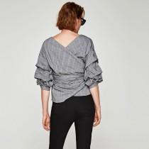 小香風手袖造型前後可穿綁腰襯衫 S-XXL  small ki