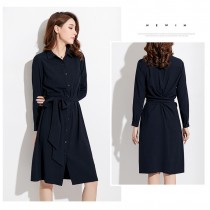 氣質綁帶修身A字裙洋裝  S-XL  SMALL KI