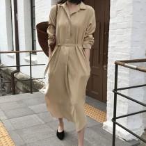一件百搭~韓復古冷淡風連身裙 M~2XL