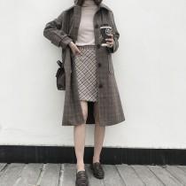 冬季最新款  廓型格紋長版大衣毛尼外套   M-L  small ki