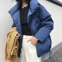 冬季新款 立領羽絨棉抽繩式保暖外套  M-L SMALL KI