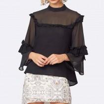 歐美風紗質荷葉邊微透感造型上衣  S-XXL   SMALL KI