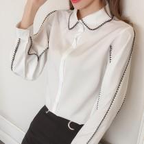 韓版刺繡寬鬆顯瘦百搭車邊襯衫  s-XL  small ki