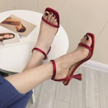 夏季綢緞材質一字帶方頭涼鞋  35-39 small ki