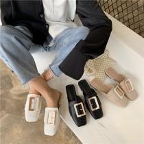 新款方頭大釦外穿軟皮穆勒鞋 35 - 39