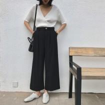 秋  舒適感挺料闊腿西裝料褲    S-L SMALL KI