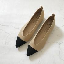 [現貨] 小香風拼色平底尖頭鞋  杏色36號small ki